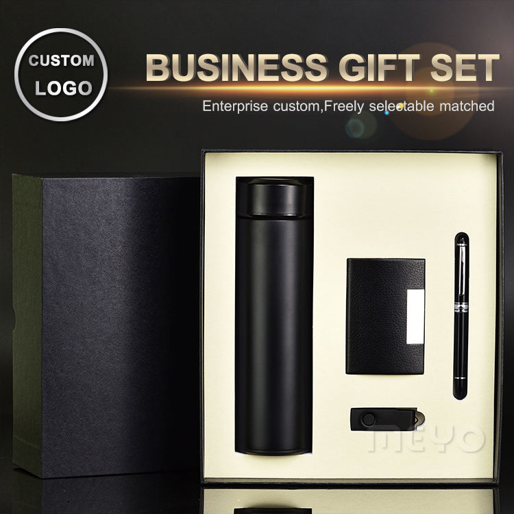 4 in 1 Executive engraved gift set with vacuum mug pen name card holder USB flash drive giveaways gift set