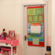 Kids Room Eco-friendly PVC Photo Frame Polyester Door Organizer With Scrawl Board