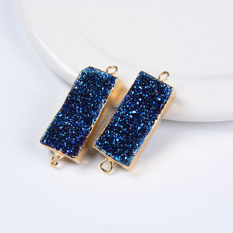 Natural Blue Druzy Bezel Rectangle Connector Gold Plated Double Bail