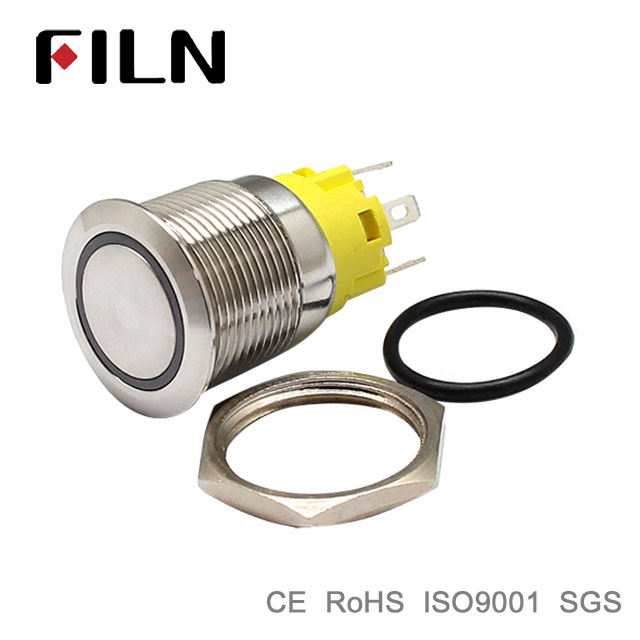 FILN 19mm waterproof 250v led metal push button switch on off psdt pc power with wire range hood switch