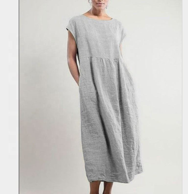 Solid color sleeveless loose cotton linen pocket dress