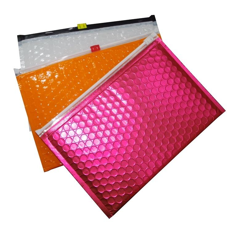 China Waterproof Custom LDPE/HDPE Plastic PET Metallic Bubble Packing Colored Bubble Bags Zip Lock With Logo