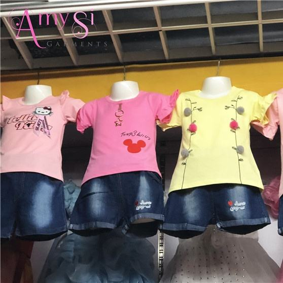 2.99 dollar GT030 High quality cotton t shirt and jean shorts kids girls set fashionable clothes summer boutique clothing
