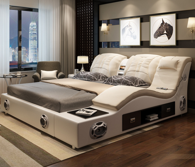 Luxury White Bedroom Furniture Modern Leather Bed Multifunction Massage Bed latest double bed design
