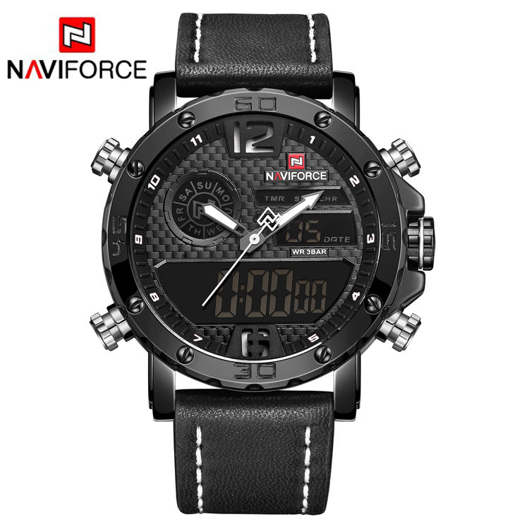 NAVIFORCE 9134 New Men Military Sport Watches Western Luxury Brand Men's Leather Quartz Watch Male Led Analog Digital Clock