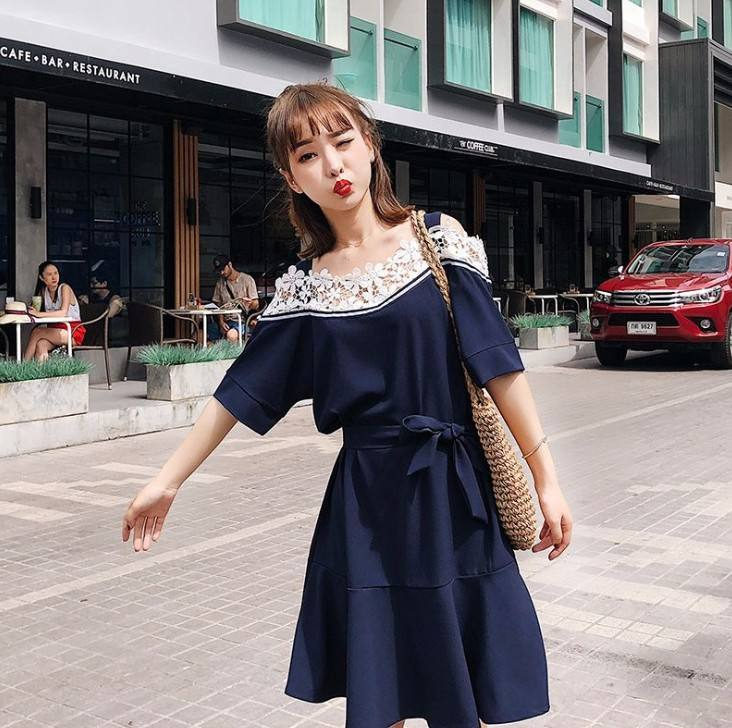 zm40261c 2018 summer women dress lace one piece female dresses joint fishtail lady dresses