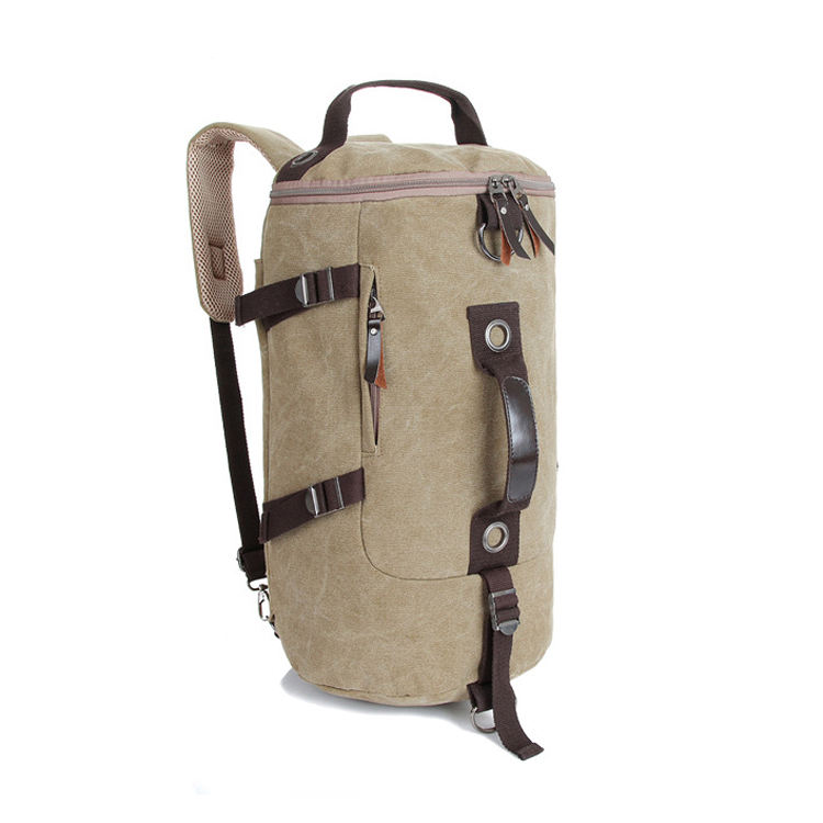 Retro Duffel Cylinder Bag Canvas Travel Backpack for Men Hiking Weekend Luggage
