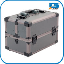 Top quality single makeup kits for professionals box cosmetic bag nail trolley vanty aluminum metal make up case