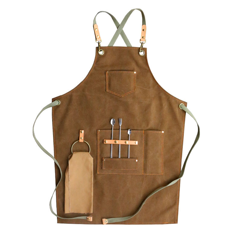 Custom logo restaurant barista milk tea cake barber shop fashion cotton canvas work apron with adjustable strap