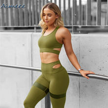 Custom 2 Piece Yoga Sets High Waisted Seamless Leggings Sports Bra