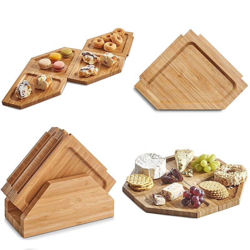 Eco-Friendly Puzzle Bamboo Wooden Snack Tray Dry Fruit Plate Charcuterie and Meat Serving Board Trays