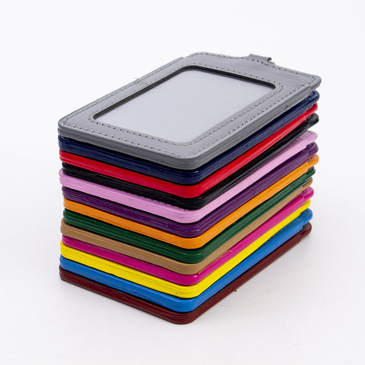 good quality cheap price vertical and horizontal PU Leather id card holder from verfied supplier