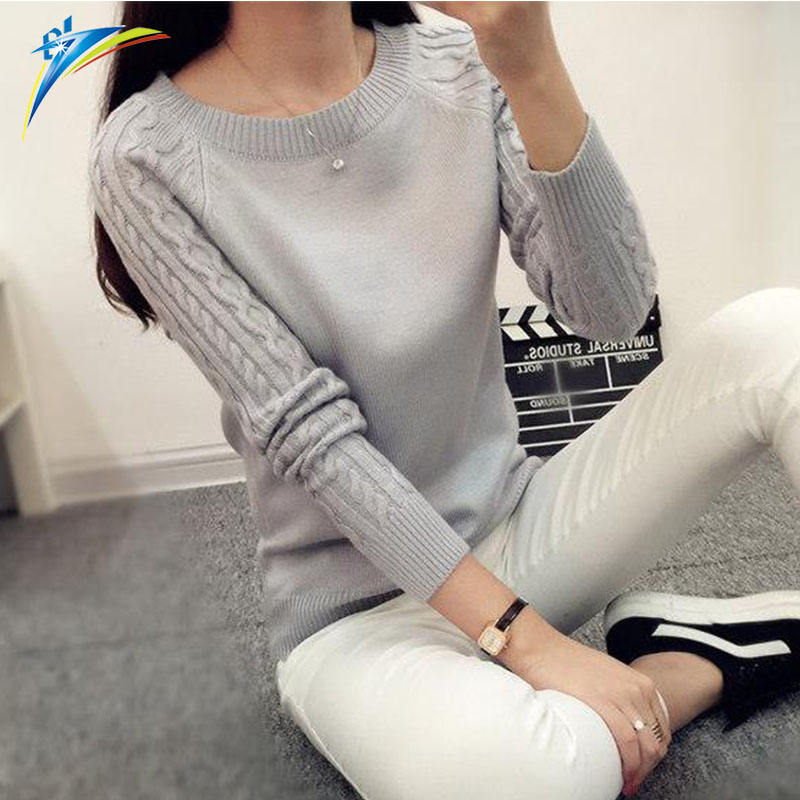 2019 new autumn O neck knitted sweater for women Femme long sleeve soft Pullovers lady sweater