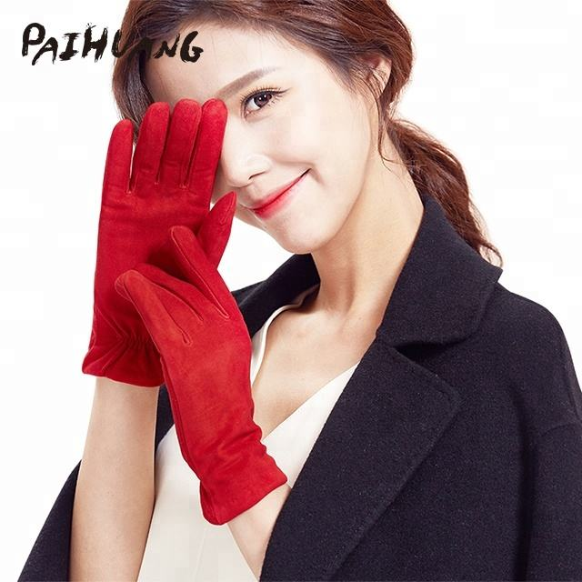 IS806-S Paihuang Ladies classic suede fitness leather hand gloves