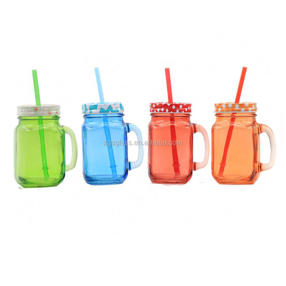 Square colored 2oz Glass drinking Mason Jar With Handle