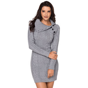 2020 Wholesale Winter Black Cable Pullovers Bodycon Mini Sweater Dress Women Clothing