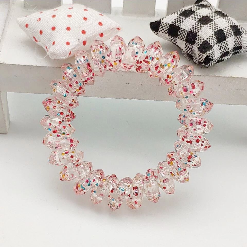 Wholesale 5.5cm Traceless scrunchies hair tie new plastic bracelet telephone cord wrist band wrist coils hair ties