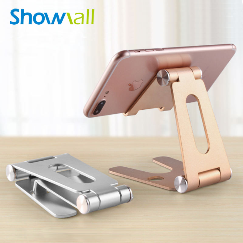 Folding double axis adjustment desktop aluminum alloy gold metal phone holder stand adjustable mobile base