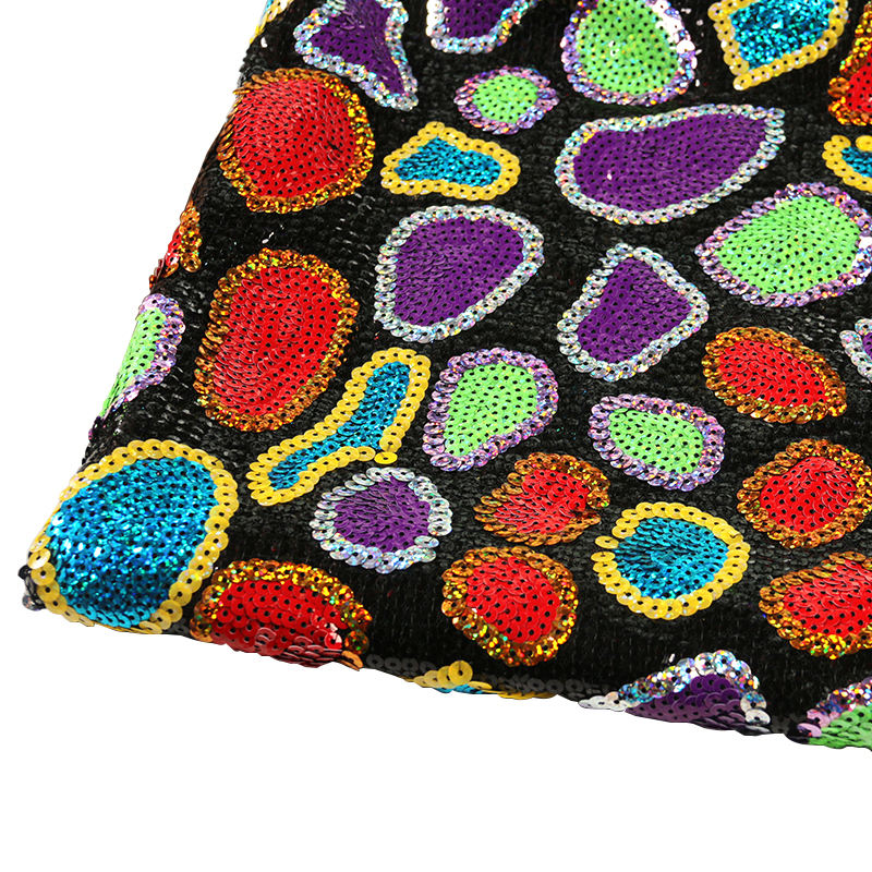 Supplier wholesale custom polyester African colorful sequin fabric for women