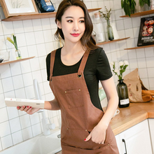 Hot Sale Wholesale Waterproof Cotton Work Apron With Pockets  Barista Kitchen Apron