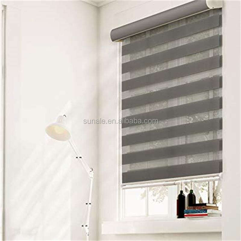 Zebra roller blinds fabric horizontal cordless window roller shades with aluminum valance