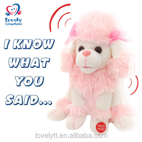 "9.5"" Pink Poodle Sound Chip Animated Stuffed Plush Toy"
