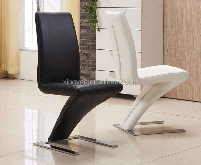 Modern Living Room Furniture Genuine Leather Dinner Chairs Chromed Stainless Steel Base Designer Z Shape Luxury Dining Chair