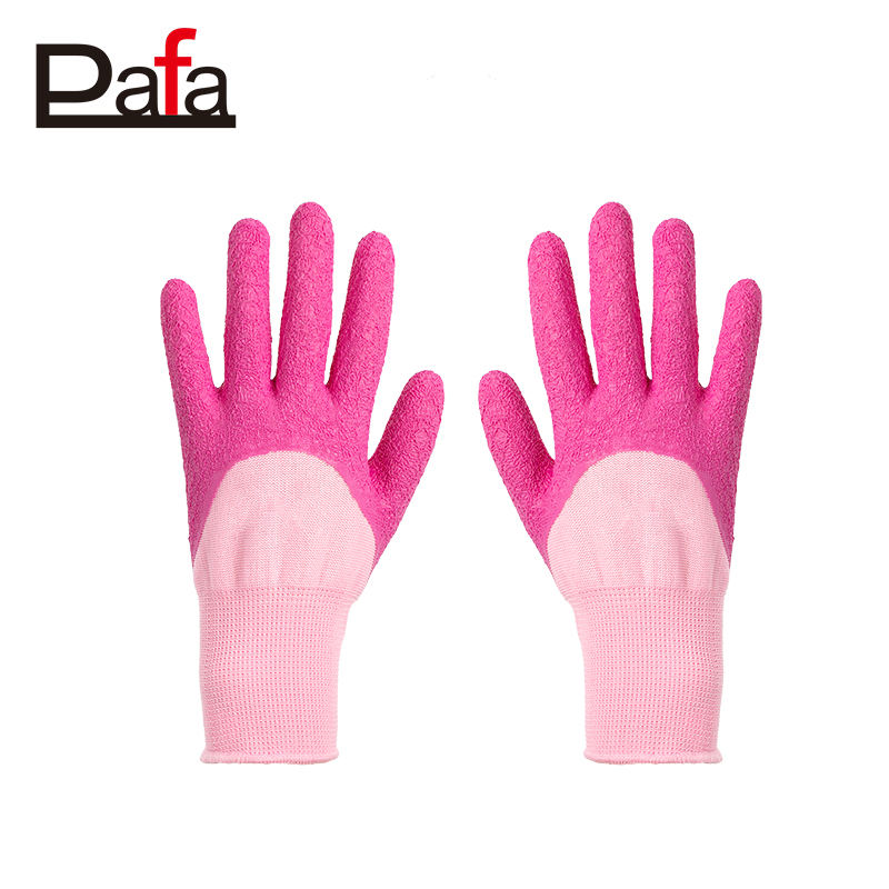 Cheap price colorful rubber coated garden gloves