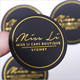 custom 5cm round black matte art coated paper sticker for cosmetic