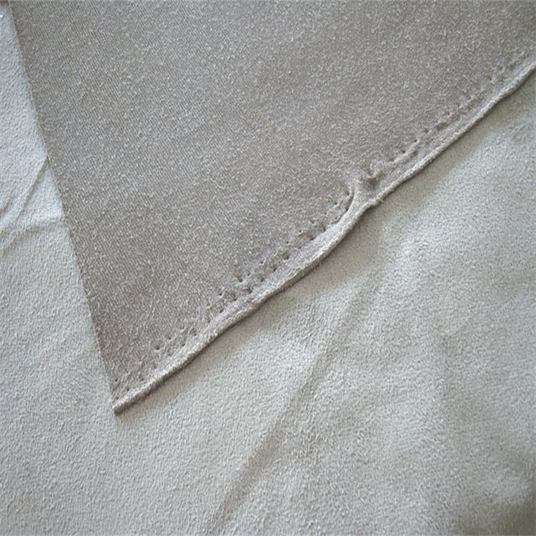 Micro fiber brushed suede backing bonded t/c fabric material for sofa and garments upholstery recycled suede fabric