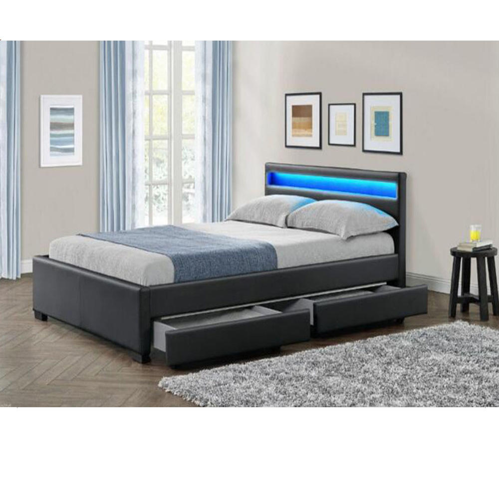 latest double bed design LED leather bed with storage wood box