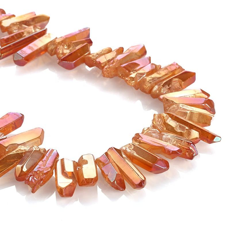 Natural Pink Plated Crystal Points Stone Titanium Coated Quartz Sticks Point Beads Irregular Spikes Loose Gemstone