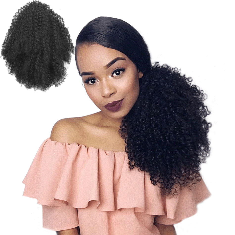 Kinky Curly Ponytail Synthetic Hair Bun Chignon Hairpiece For Women Updo Clip in Hair Extension