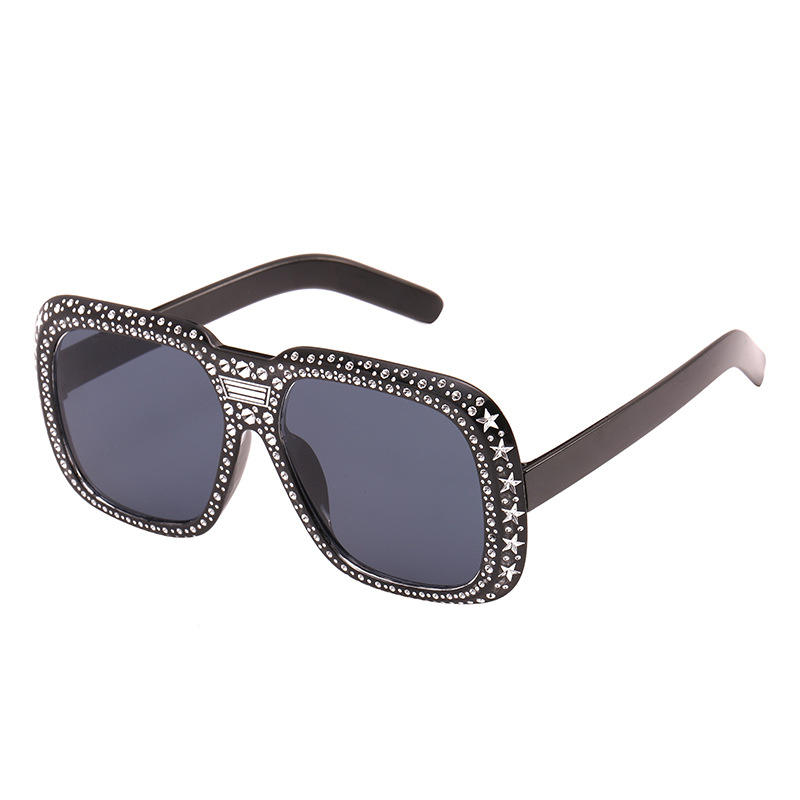 Ready To Ship Shining Diamond Women Design Black Flash Square Shades Female Sun Glasses