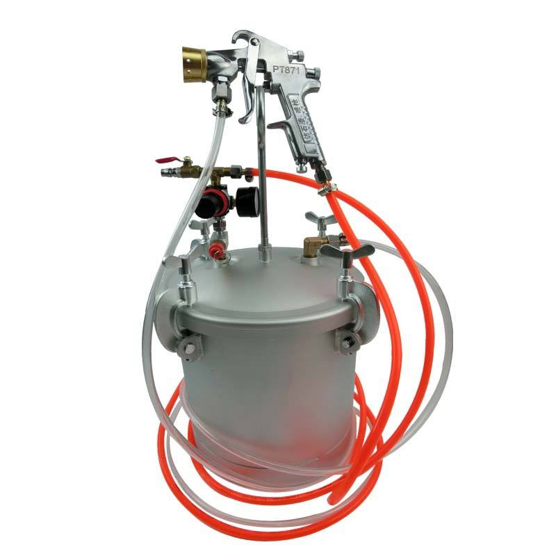 10L Feed Texture Coating Tank Pot Pressure Bucket With Colourful Air Spray Gun PT871 Fluid Hose Assembly Paint Sprayer System