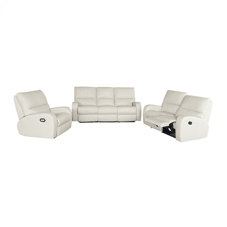 White Leather Sectional With Recliners, Sofa Reclinable Set, White Leather Recliner Sofa Set