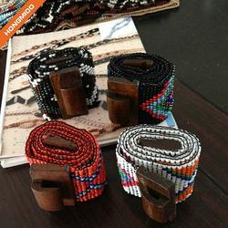 Martinique Style Pure Wooden Beaded Belts Women Wide Customi