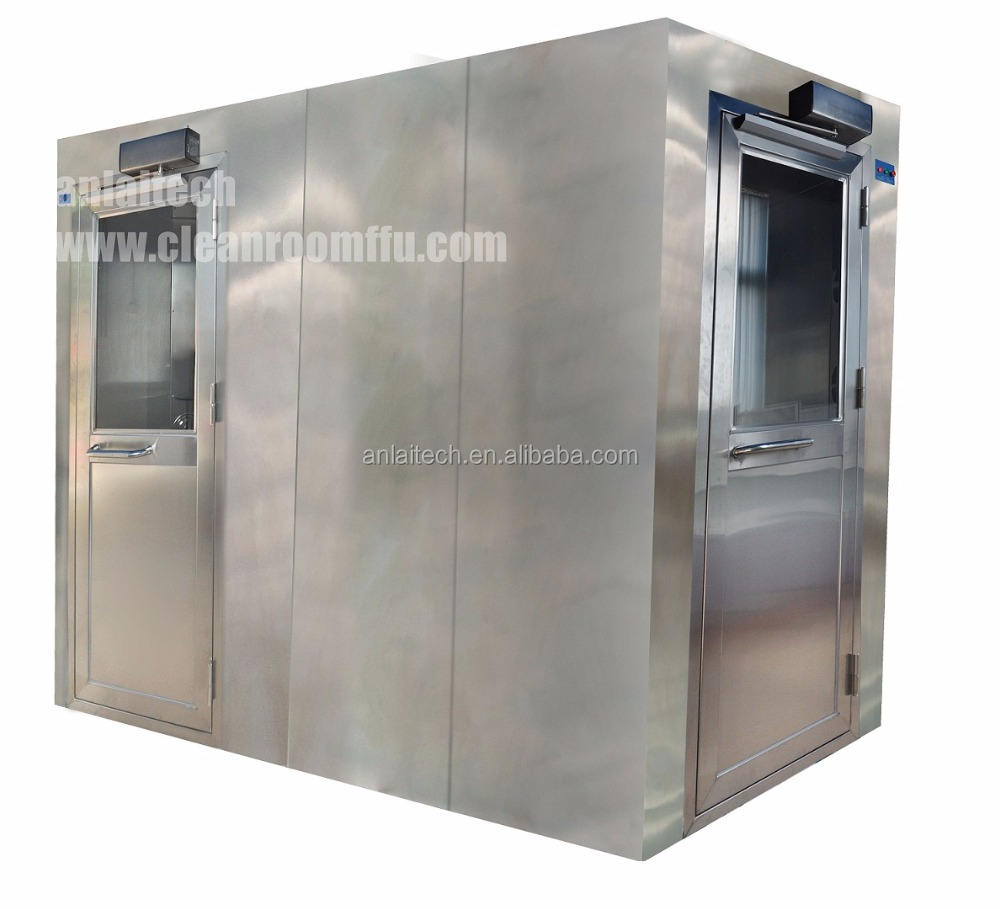 L type design air showers for Cleanroom space saving Airshowers