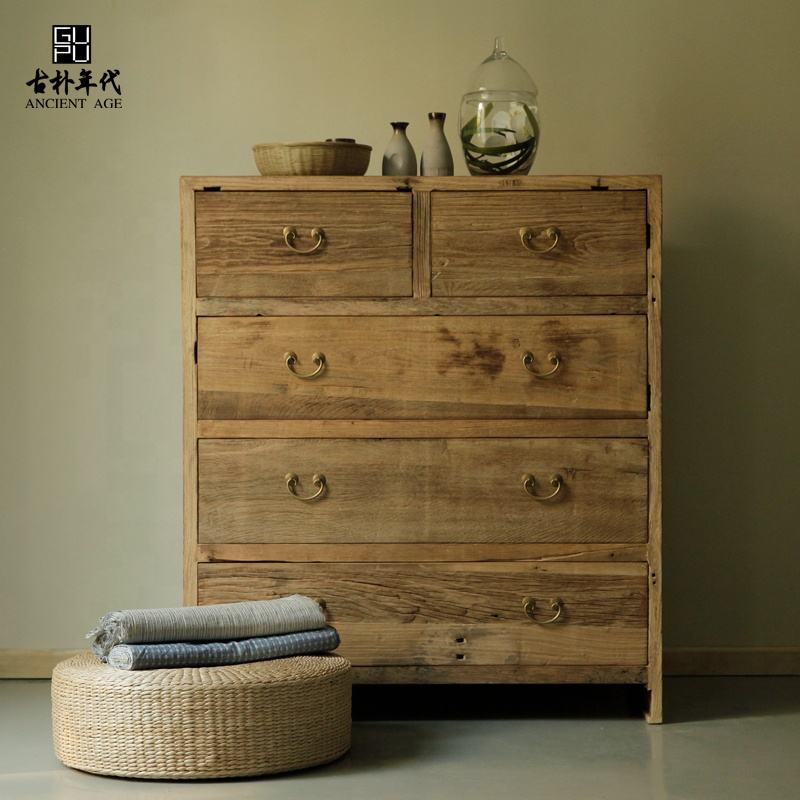 Wooden work reproduction furniture reclaimed wood drawer cabinet solid wood modern decorative storage cabinet