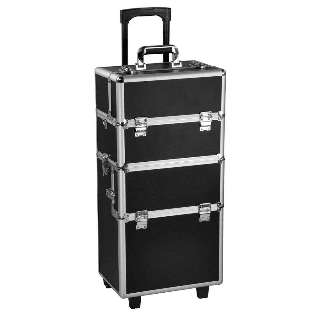 3 in 1 Pro Aluminum Rolling Makeup Case Salon Cosmetic Box Organizer Trolley Train Case Wheeled Artist Travel