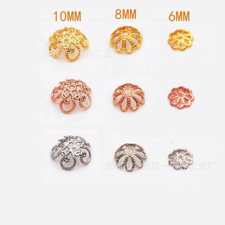 Y0062 Copper Metal DIY Jewelry Findings Gold Rose Gold Flower Torus End Caps Bead Caps