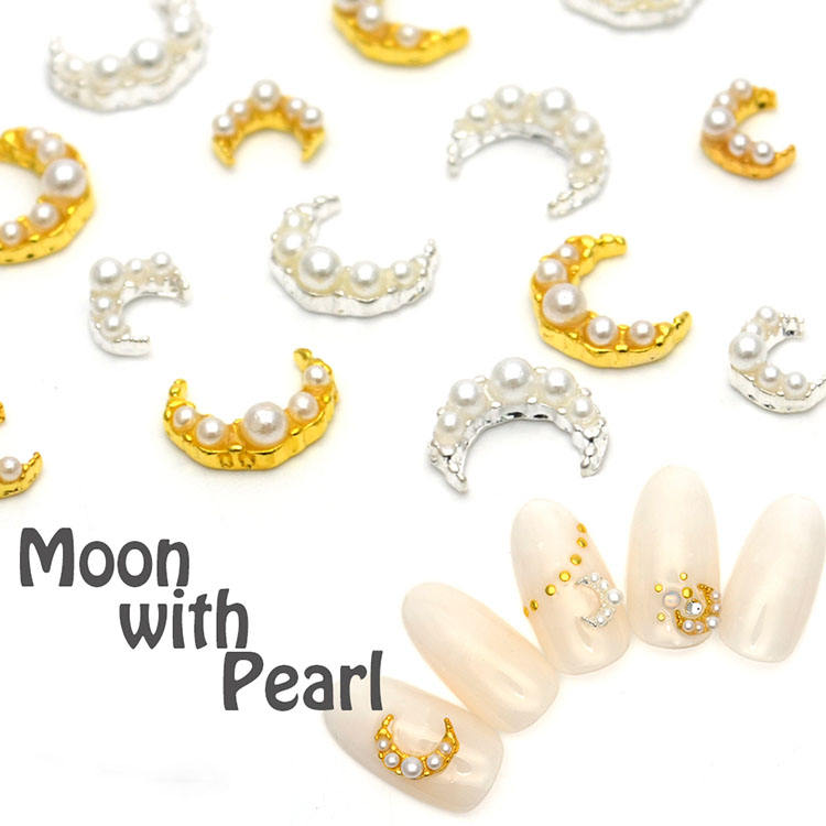 2020 Fashionable Japanese style nail art decoration, moon gold and sliver with pears for 3D nail art decoration