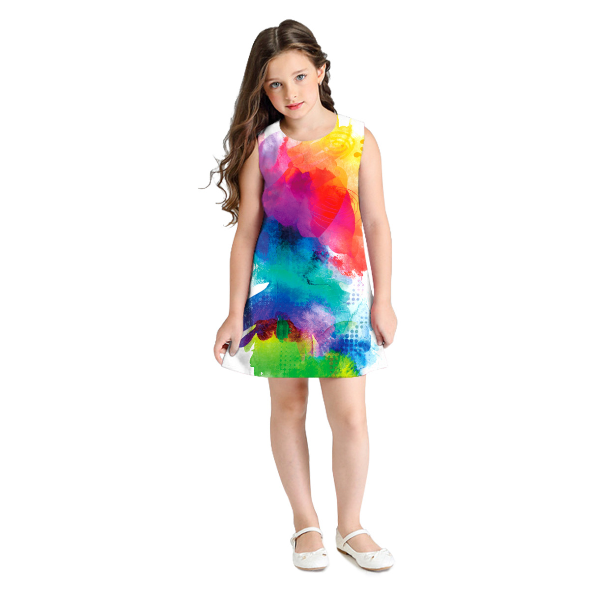 cheap china wholesale custom 3d digital print private label sleeveless long t shirt baby girl party mini dresses