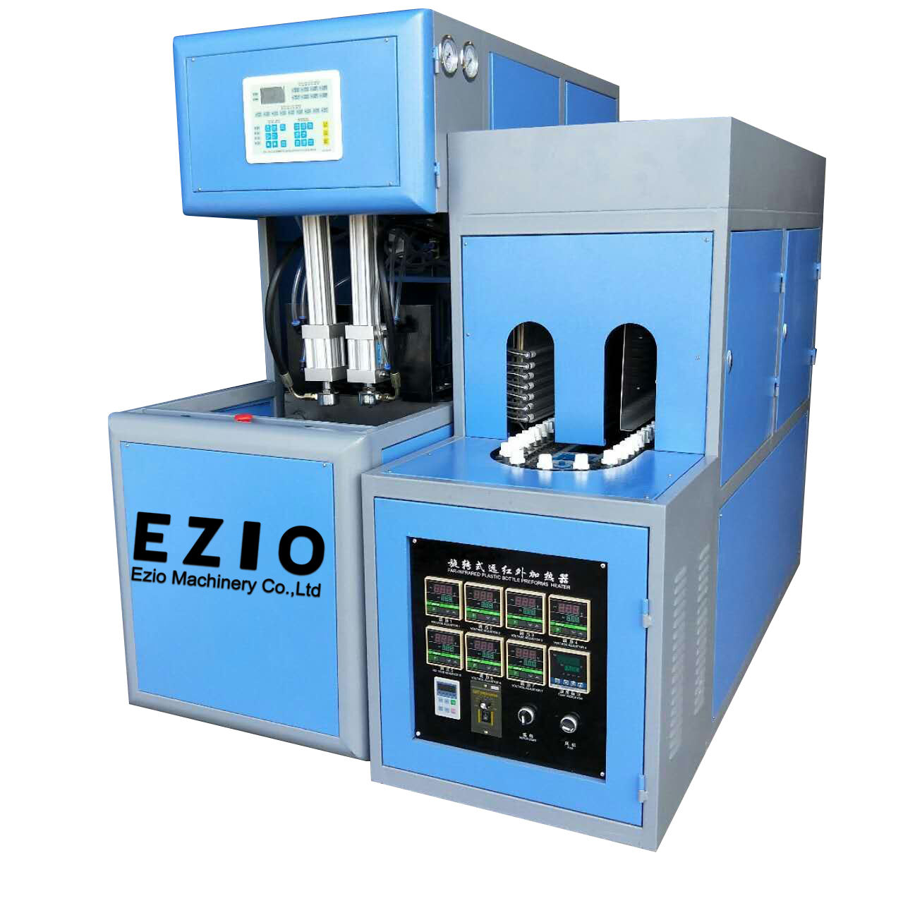 Ezio-1000A Stretch Type Semi Automatic Pet Bottle Blowing Molding Machine / Plastic Bottle Making Blow Moulding Machine