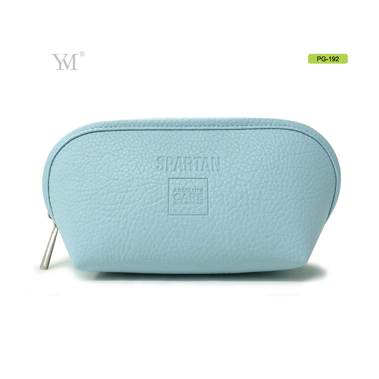 promotional cheap embossed logo blue durable pu leather pouch brush cosmetic bag