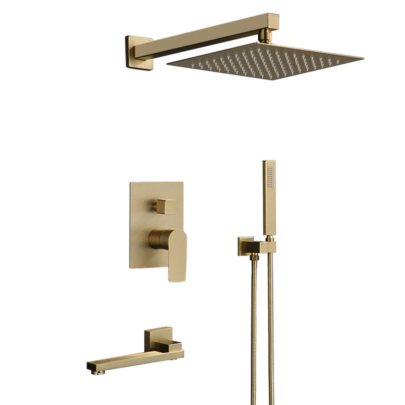Concealed Shower Mixer Brushed Gold Brass Waterfall Rain Shower System