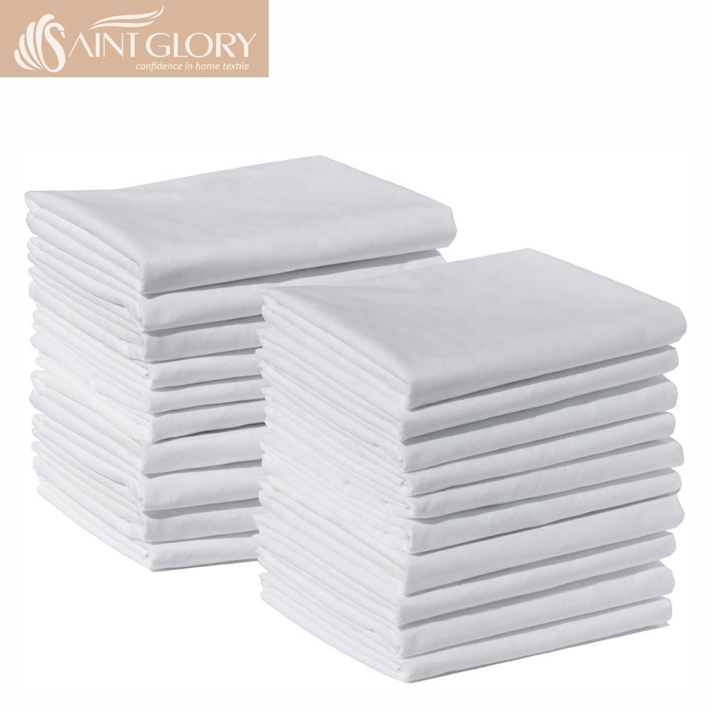 Plain White Cotton Flat Bed Sheet Set Hotel Home