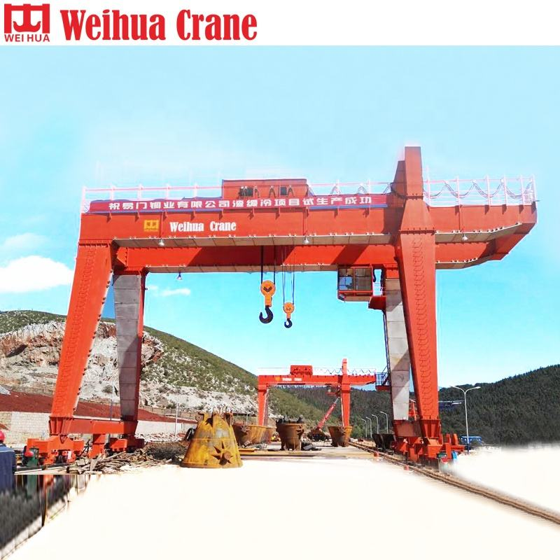 Heavy Duty A Model 80 Tons Construction 2 Single Half Price Traveling Double Beam Gantry 5t 10t 15 Ton Long Span Crane
