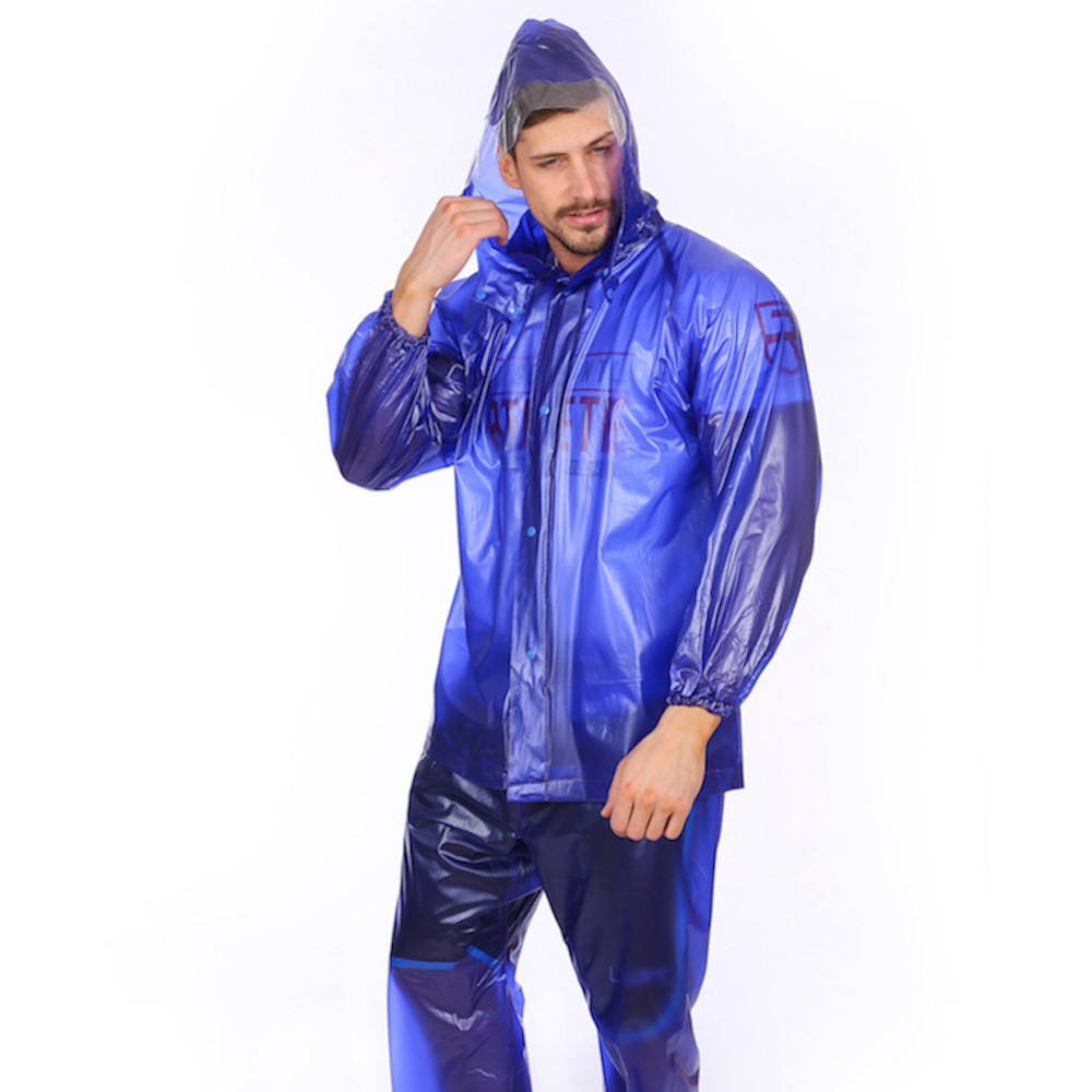 100% waterproof outdoor work adult blue rubber pvc raincoat rain suit set jackets with pants flap in front custom print logo