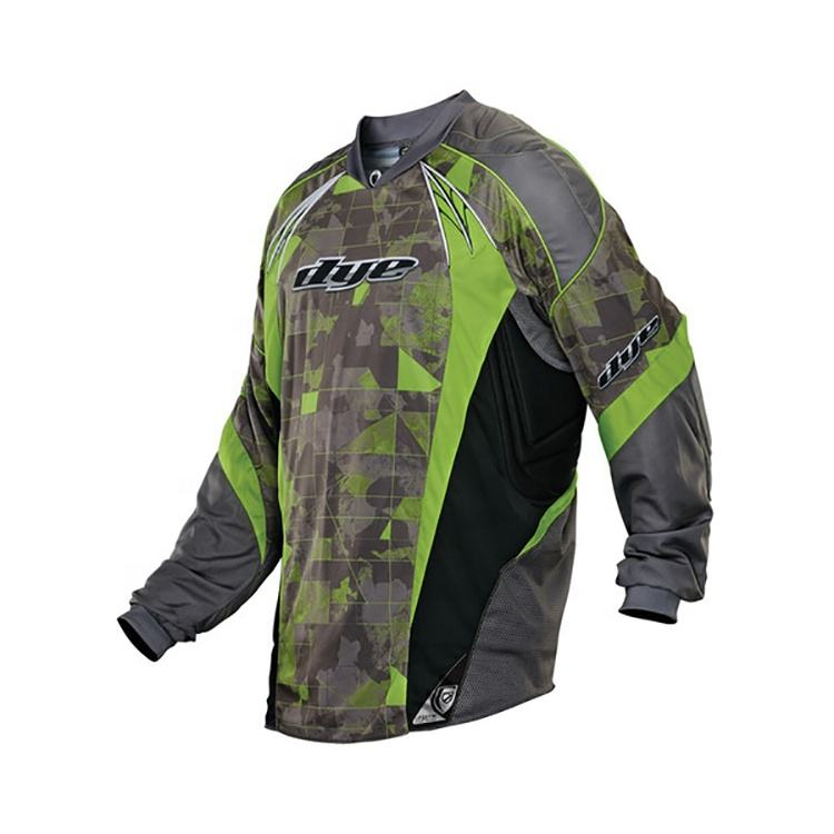 Sublimation impression manches longues polyester personnalisé conception paintball jersey
